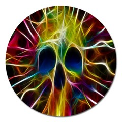 Skulls Multicolor Fractalius Colors Colorful Magnet 5  (round)
