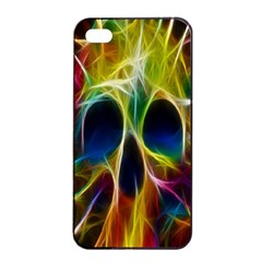 Skulls Multicolor Fractalius Colors Colorful Apple Iphone 4/4s Seamless Case (black) by BangZart