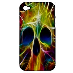 Skulls Multicolor Fractalius Colors Colorful Apple Iphone 4/4s Hardshell Case (pc+silicone)