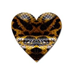 Textures Snake Skin Patterns Heart Magnet by BangZart