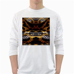Textures Snake Skin Patterns White Long Sleeve T Shirts