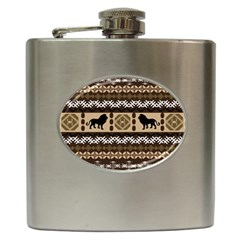 Lion African Vector Pattern Hip Flask (6 Oz)