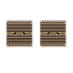 Lion African Vector Pattern Cufflinks (square) by BangZart