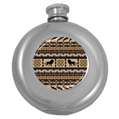 Lion African Vector Pattern Round Hip Flask (5 Oz)