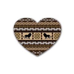 Lion African Vector Pattern Rubber Coaster (heart)