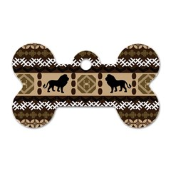 Lion African Vector Pattern Dog Tag Bone (one Side)