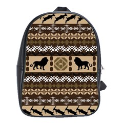 Lion African Vector Pattern School Bags (xl)  by BangZart