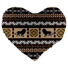 Lion African Vector Pattern Large 19  Premium Heart Shape Cushions by BangZart