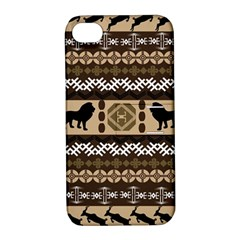 Lion African Vector Pattern Apple Iphone 4/4s Hardshell Case With Stand