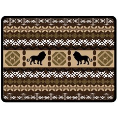 Lion African Vector Pattern Double Sided Fleece Blanket (large)