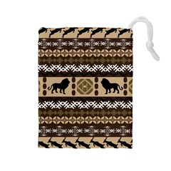 Lion African Vector Pattern Drawstring Pouches (large)