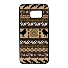 Lion African Vector Pattern Samsung Galaxy S7 Black Seamless Case