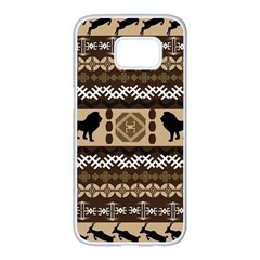 Lion African Vector Pattern Samsung Galaxy S7 Edge White Seamless Case
