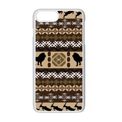 Lion African Vector Pattern Apple Iphone 7 Plus White Seamless Case