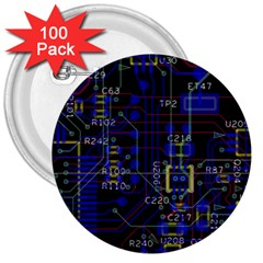 Technology Circuit Board Layout 3  Buttons (100 Pack)  by BangZart