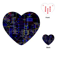 Technology Circuit Board Layout Playing Cards (heart)  by BangZart