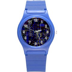 Technology Circuit Board Layout Round Plastic Sport Watch (s) by BangZart
