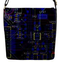 Technology Circuit Board Layout Flap Messenger Bag (s) by BangZart