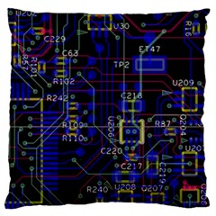 Technology Circuit Board Layout Large Flano Cushion Case (two Sides) by BangZart