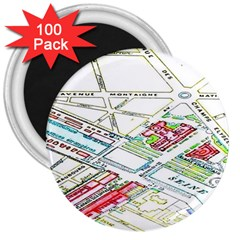 Paris Map 3  Magnets (100 Pack)