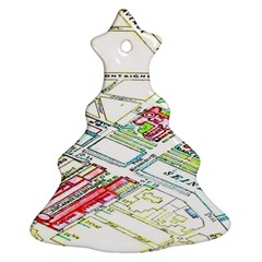 Paris Map Christmas Tree Ornament (two Sides)