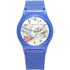Paris Map Round Plastic Sport Watch (s)