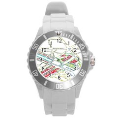 Paris Map Round Plastic Sport Watch (l)