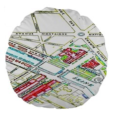 Paris Map Large 18  Premium Round Cushions
