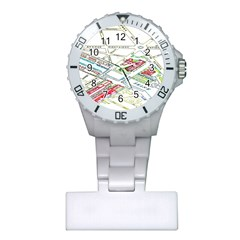 Paris Map Plastic Nurses Watch