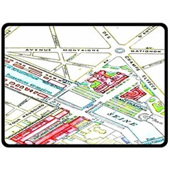 Paris Map Double Sided Fleece Blanket (large)  by BangZart