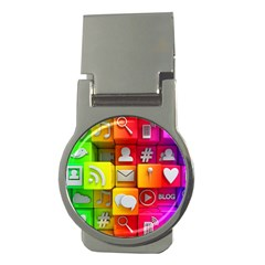Colorful 3d Social Media Money Clips (round)