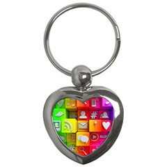Colorful 3d Social Media Key Chains (heart)