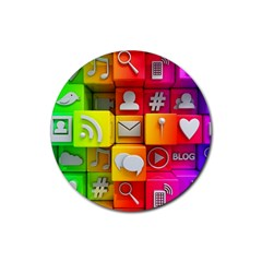 Colorful 3d Social Media Rubber Coaster (round)