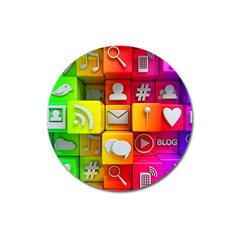 Colorful 3d Social Media Magnet 3  (round) by BangZart