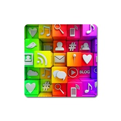 Colorful 3d Social Media Square Magnet