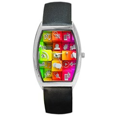 Colorful 3d Social Media Barrel Style Metal Watch by BangZart