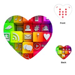 Colorful 3d Social Media Playing Cards (heart)
