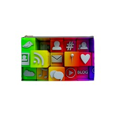 Colorful 3d Social Media Cosmetic Bag (small)