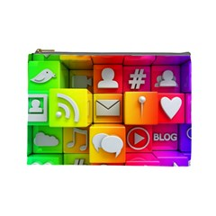Colorful 3d Social Media Cosmetic Bag (large)  by BangZart