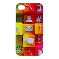 Colorful 3d Social Media Apple Iphone 4/4s Premium Hardshell Case