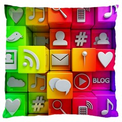 Colorful 3d Social Media Large Cushion Case (one Side)