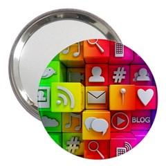 Colorful 3d Social Media 3  Handbag Mirrors