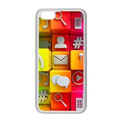 Colorful 3d Social Media Apple Iphone 5c Seamless Case (white)