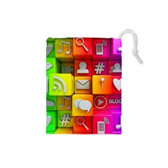 Colorful 3d Social Media Drawstring Pouches (small)