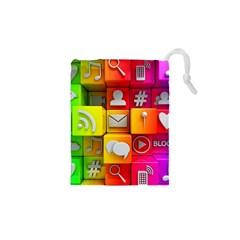 Colorful 3d Social Media Drawstring Pouches (xs)  by BangZart