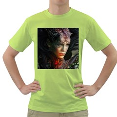 Digital Fantasy Girl Art Green T Shirt