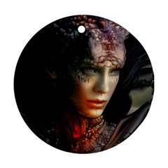 Digital Fantasy Girl Art Round Ornament (two Sides) by BangZart