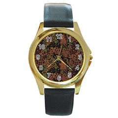 Digital Camouflage Round Gold Metal Watch