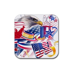 United States Of America Usa  Images Independence Day Rubber Square Coaster (4 Pack)  by BangZart