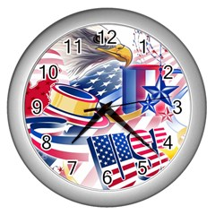 United States Of America Usa  Images Independence Day Wall Clocks (silver)